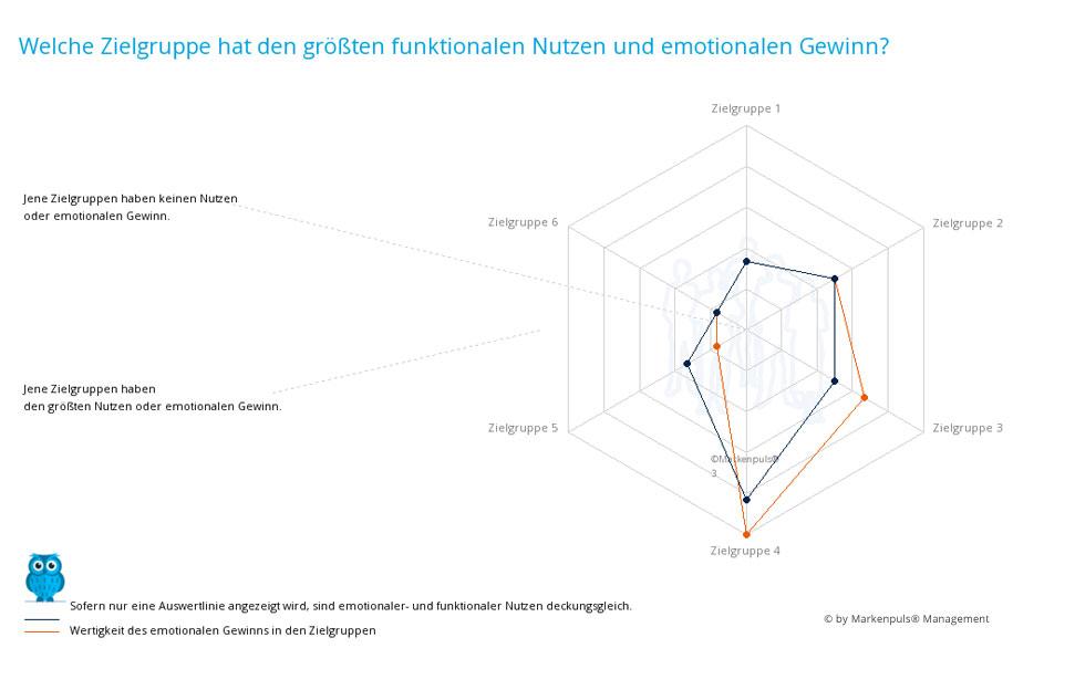Auswertung Positionierung nach der Zielgruppenanalyse: Marktchancen in den Zielgruppen auf Nutzen- und Werteebene