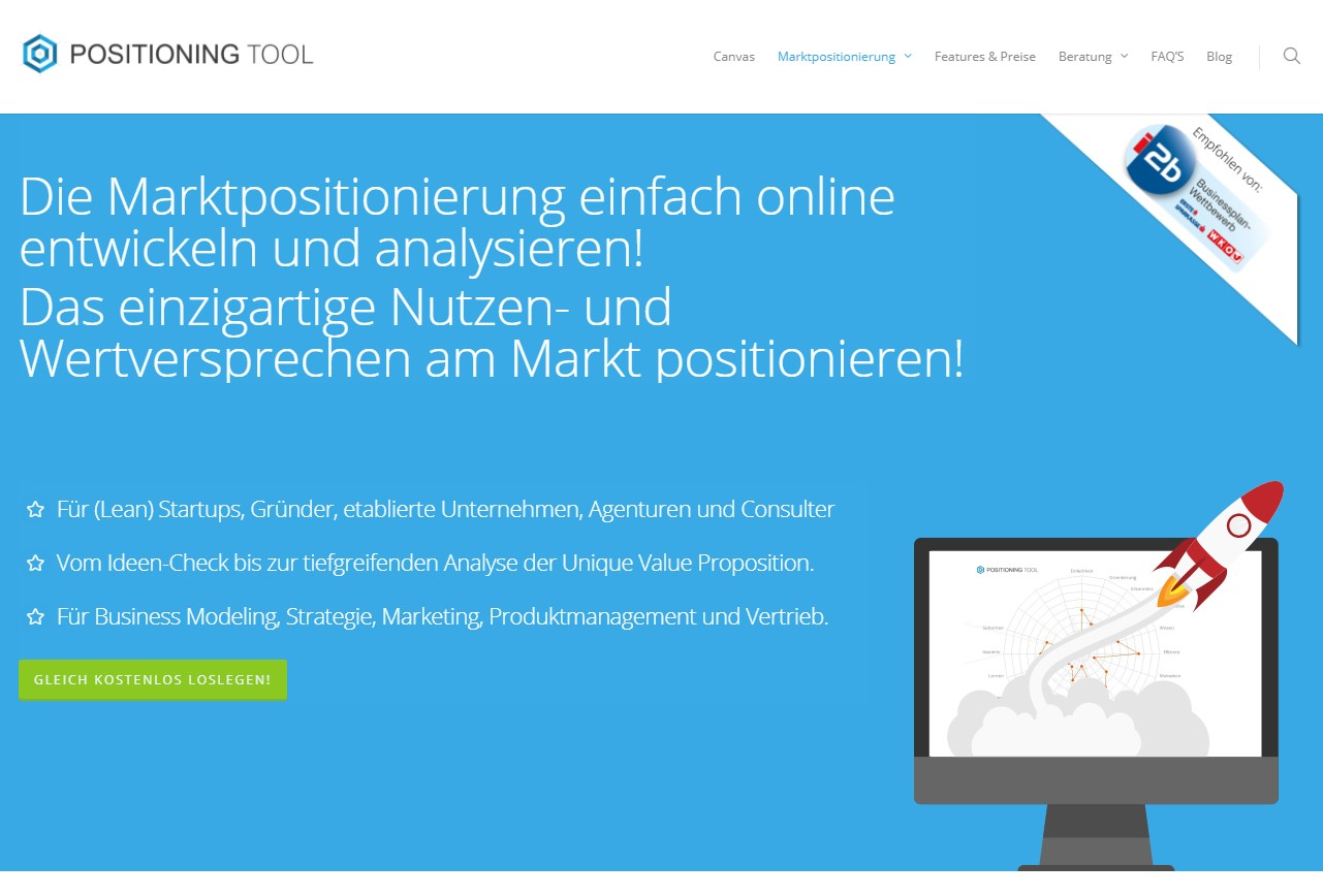 POSITIONING TOOL: Digitale Strategieberatung zur Marktpositionierung